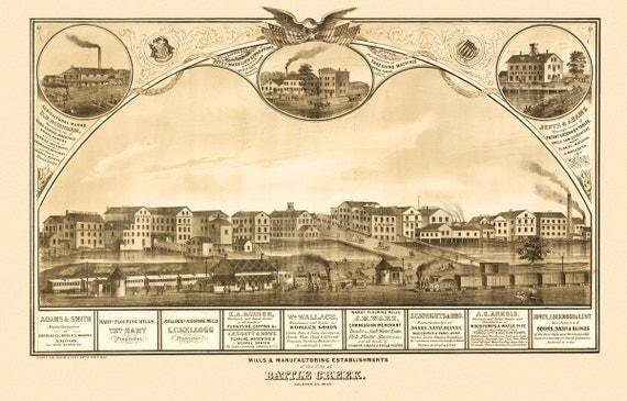 Vintage Map - Battle Creek, Michigan 1869