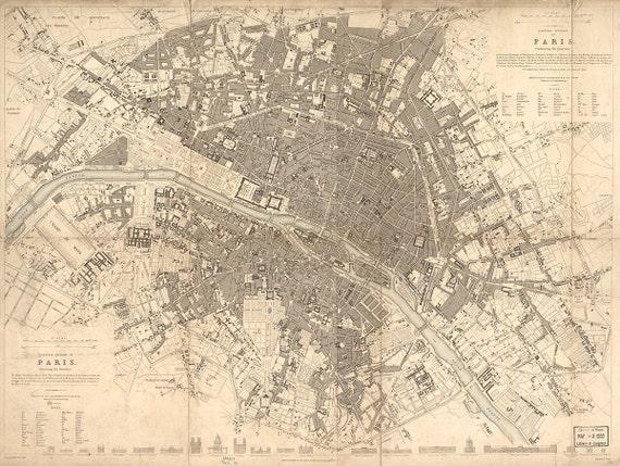 Vintage Map - Paris, France 1834