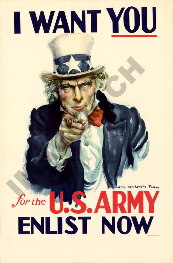 World War II Poster -  Uncle Sam - I Want You - For the U.S. Army