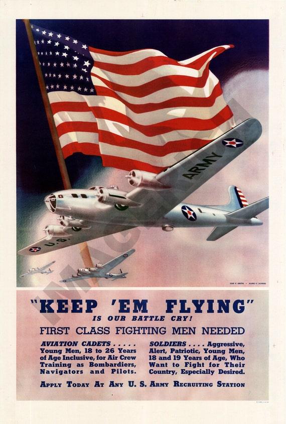 World War II Poster -  Keep 'Em Flying