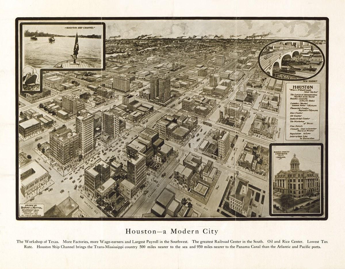 Vintage Map Houston Texas 1912
