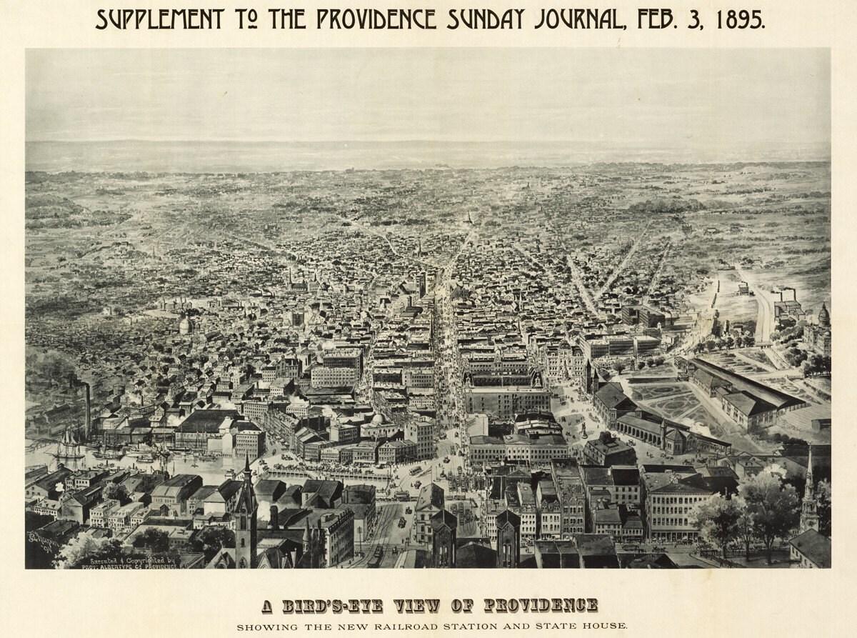 vintage map providence rhode island 1895