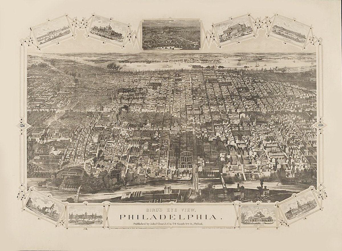 Vintage Map Philadelphia Pennsylvania 1876