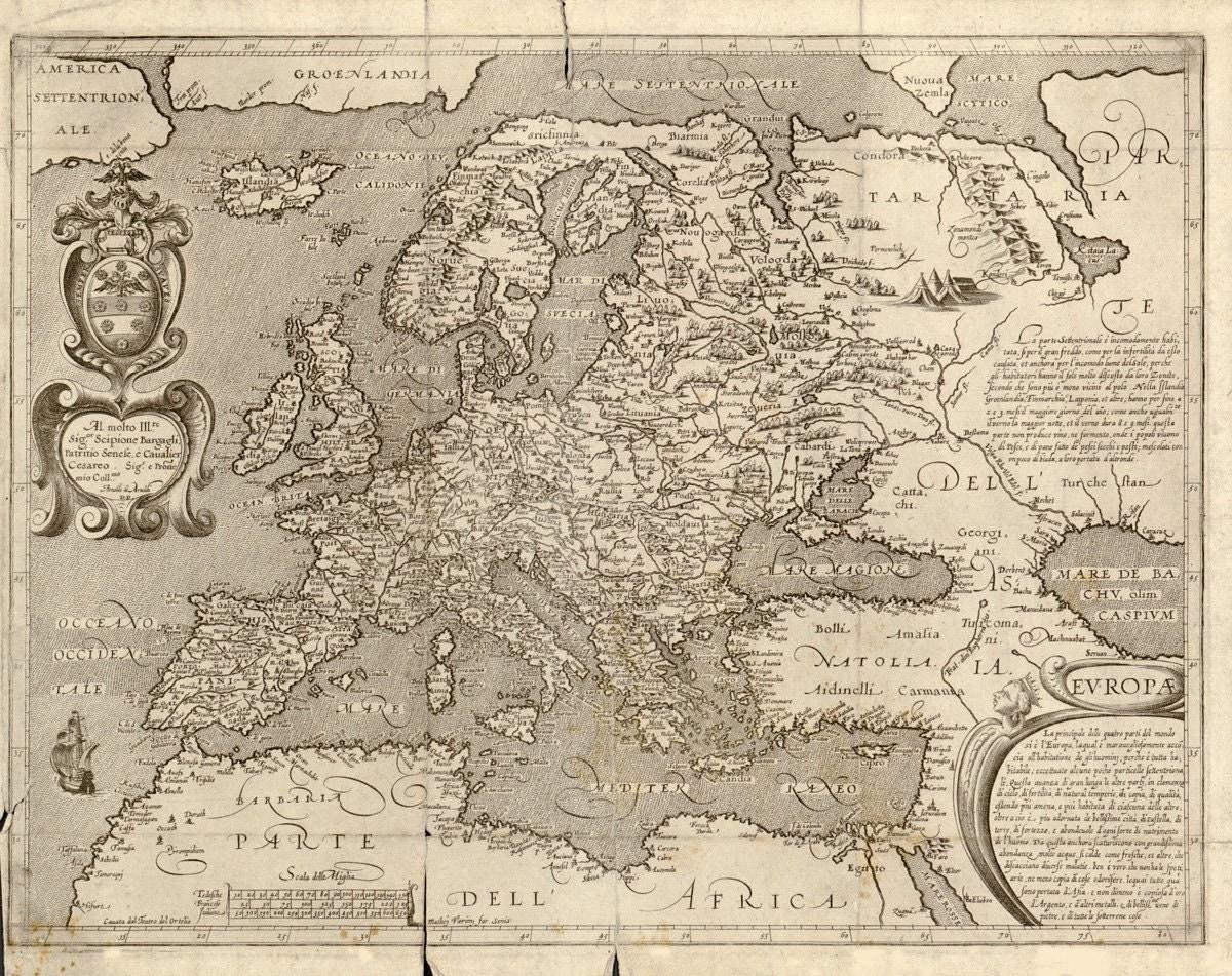 Vintage Map Europe 1600