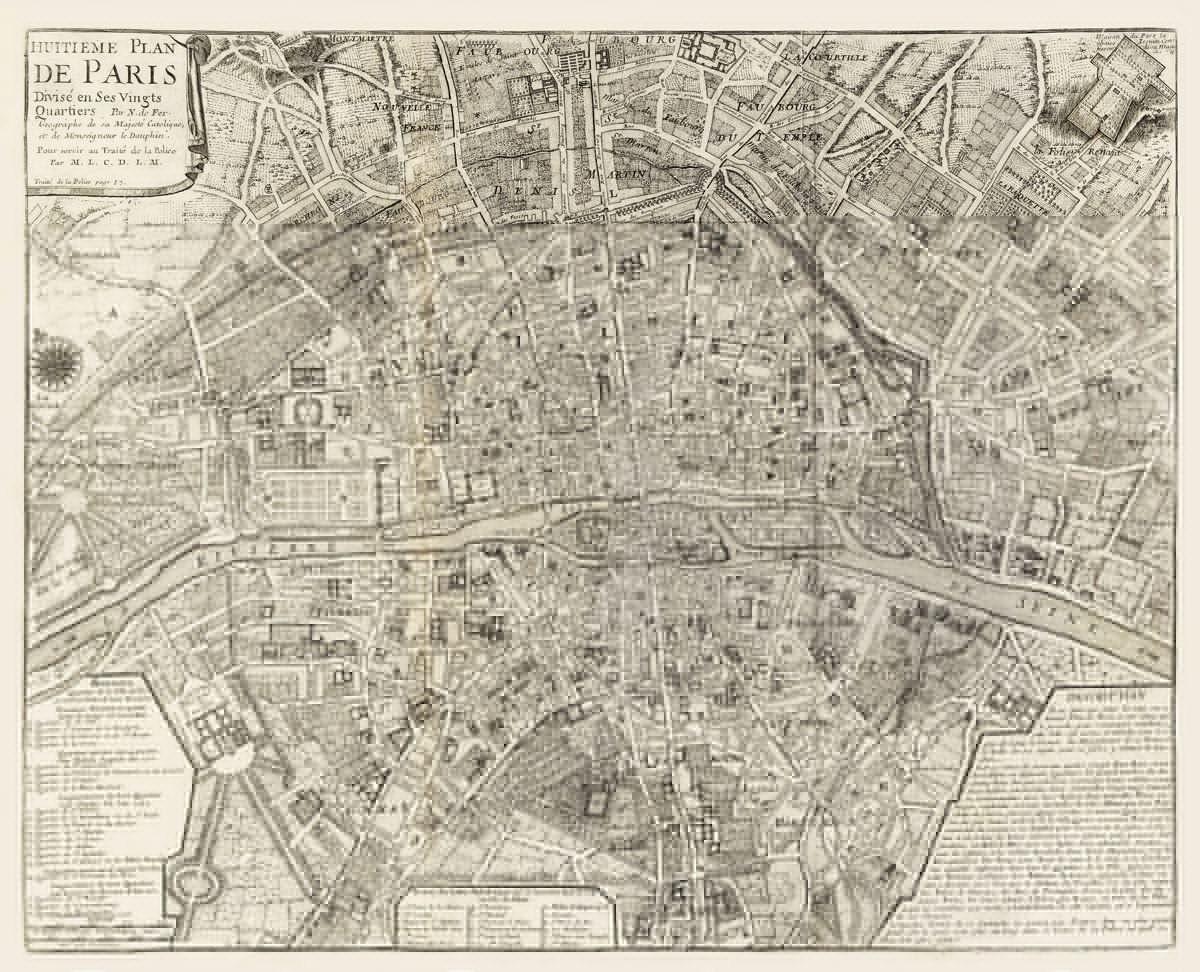 vintage map paris france 1705. Black Bedroom Furniture Sets. Home Design Ideas