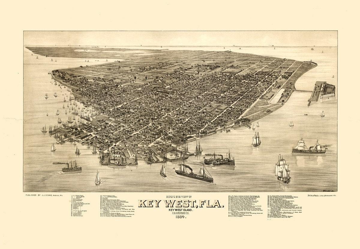 Vintage Map Key West Florida 1884