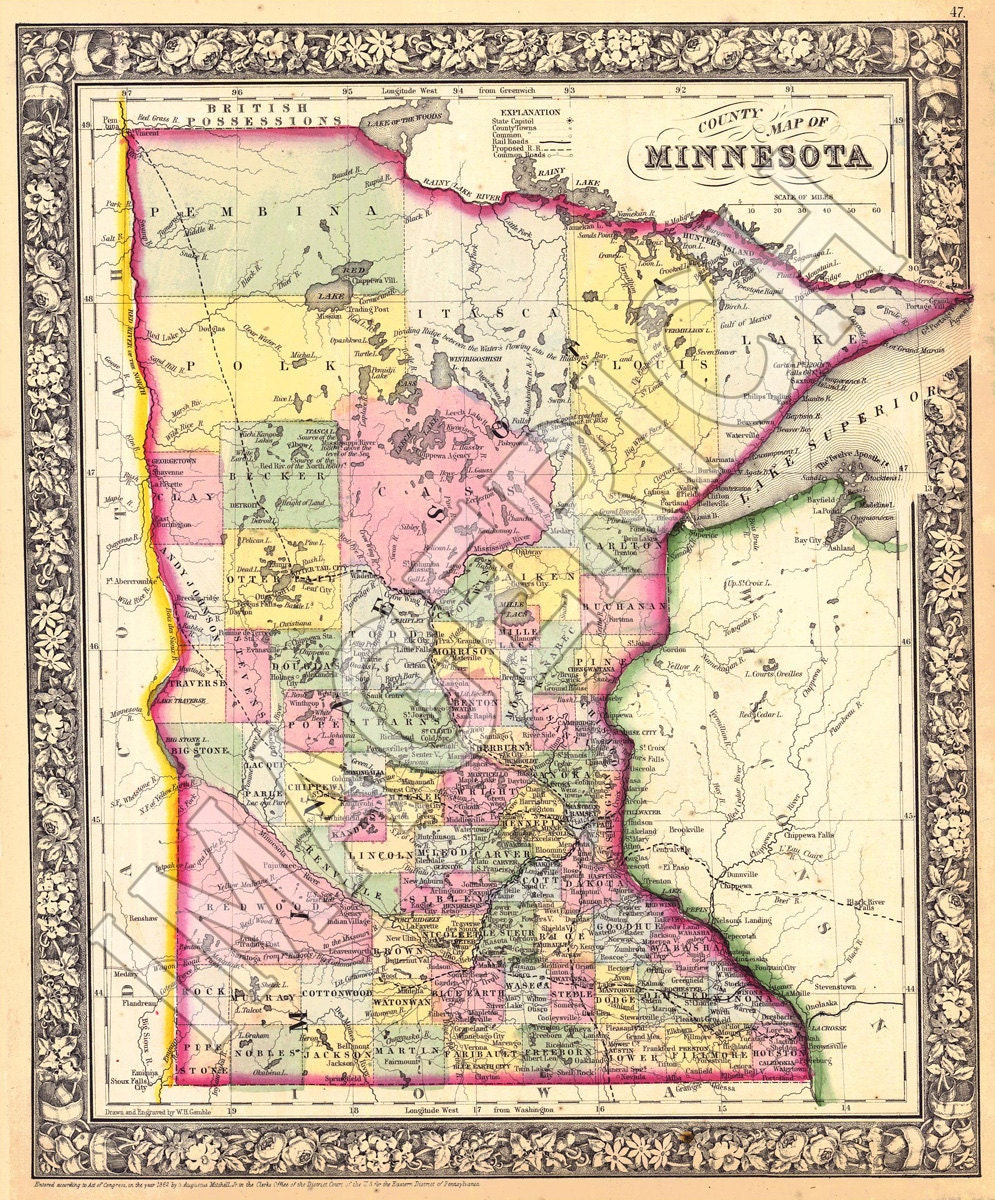 Vintage State Map Minnesota 1866