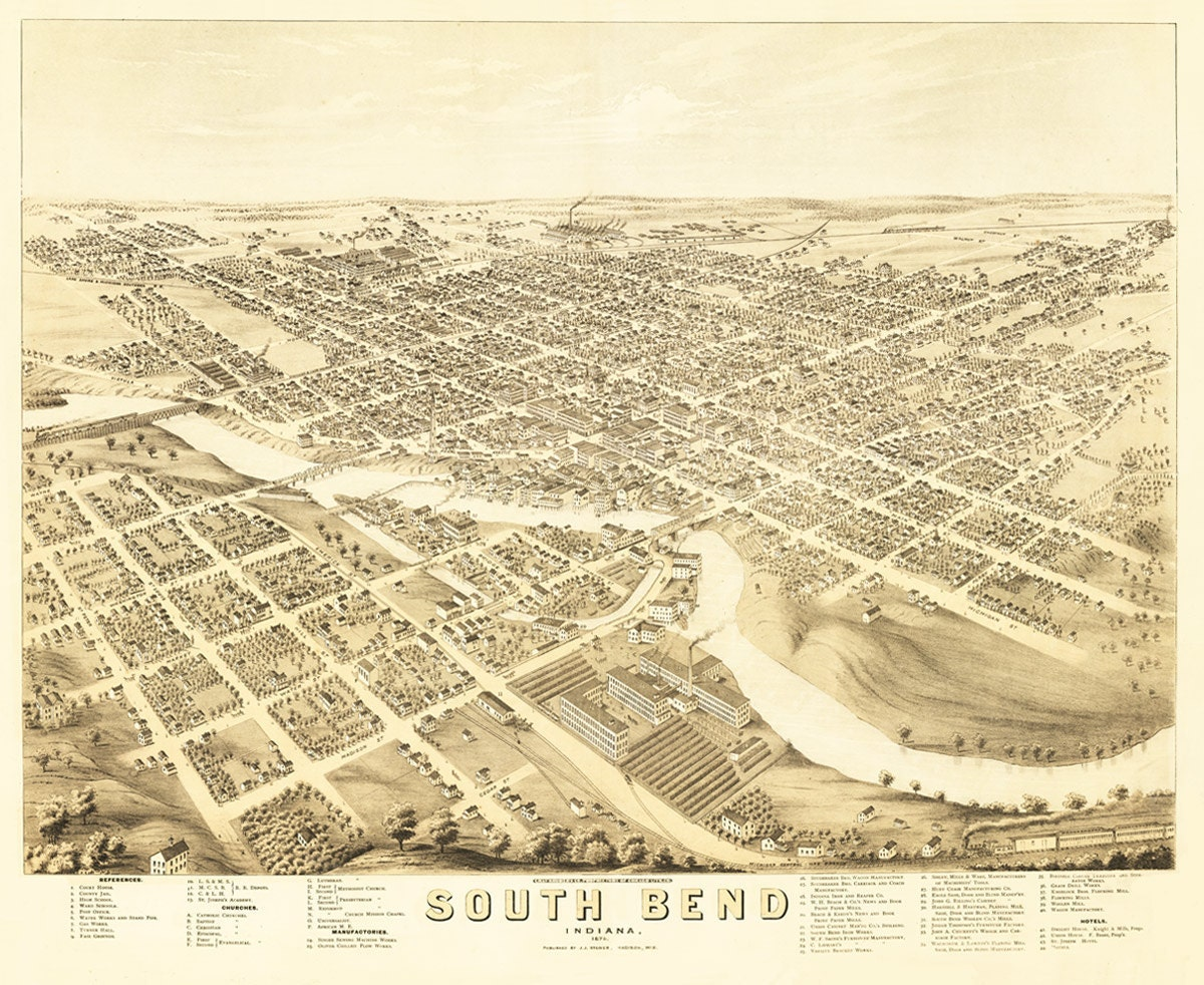 Vintage Map South Bend Indiana - South bend indiana map