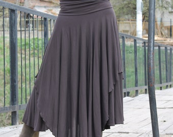 POLA Romantic brown long skirt with two layers