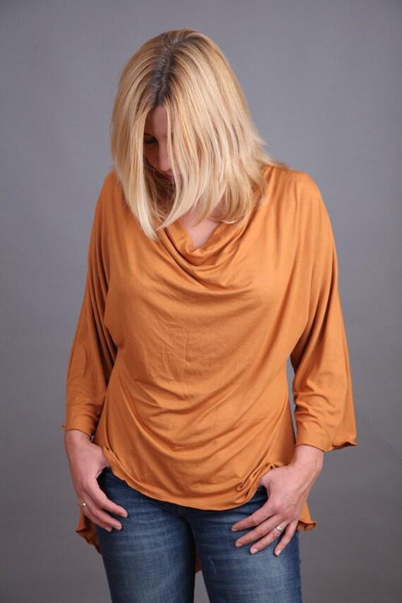 Pumpkin brown asymmetric blouse with Greek neckline