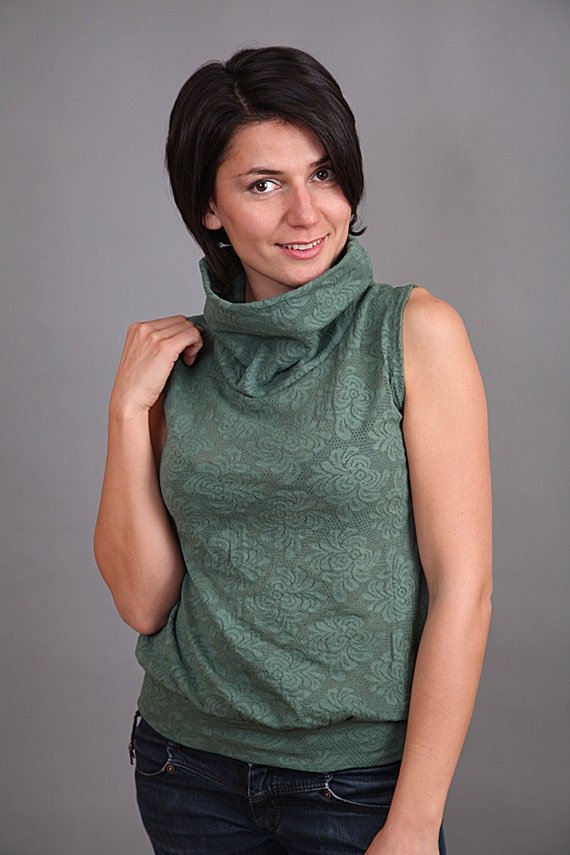 Hand dyed green cotton lace sleeveless top with turtleneck.