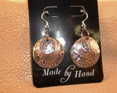 Antiqued Copper Trio Earrings with Hammered and Wood Grain Pattern