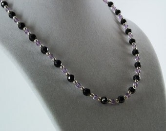 Faceted Black Onyx and Amethyst Necklace