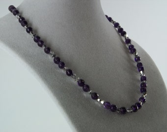 Dark Amethyst necklace with Czech Crystals