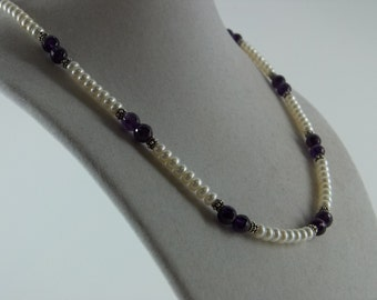 Dark Amethyst and Pearl Necklace