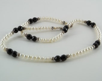 Faceted Black Onyx and Pearl Necklace
