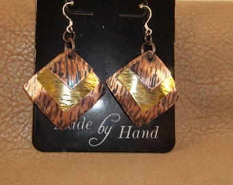 Hand Textured and antiqued Copper, Brass, and Sterling Silver Earrings