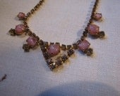 Vintage Necklace Pink Moonstone & Rhinestone