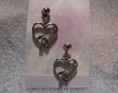 Vintage Earrings Silvertone Heart Pierced
