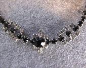 Vintage Choker Necklace Black Clear Rhinestone