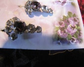 Vintage Amethyst Rhinestone Earrings