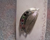 Vintage Sterling Silver Brooch Pin Rhinestones Modern Design