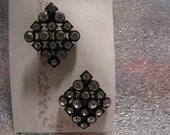Vintage Rhinestones Earrings Japanned Metal Back Pierced
