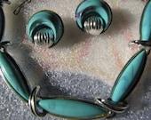 Vintage Tara Necklace Clip Earrings Faux Turquoise Silvertone