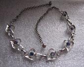 Vintage Aurora Borealis Rhinestones Necklace  Hearts