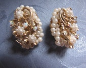 Unique Vintage Earrings Seed Pearls Aurora Borealis Rhinestones
