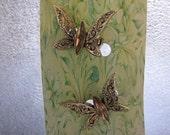 Vintage Scatter Pins Butterflies Citrine Marquis Rhinestone