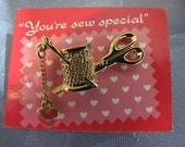 Thread Scissor Heart Vintage Tac Pin Goldtone