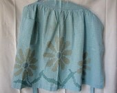Half Apron Turquoise Gingham Vintage Embroidered Daisies
