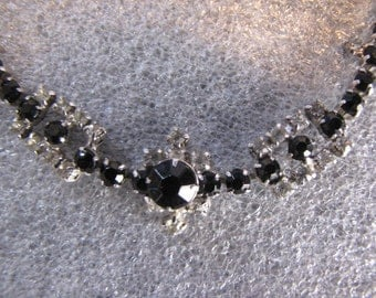 Vintage Choker Necklace Black Clear Rhinestone