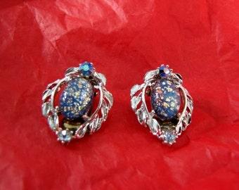 Blue Confetti Rhinestone Earrings Silvertone