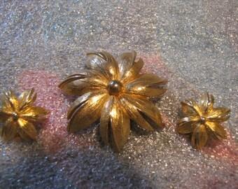 Floral Goldtone Brooch Pin Earrings Vintage Clip Ears