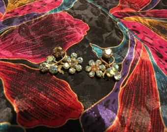 Vintage Austria Aurora Borealis Rhinestones Earrings Flowers Clips