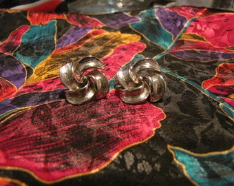 Vintage Brushed Silvertone Earrings Stamped Made in USA Clip
