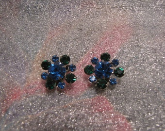 Earrings Vintage Blue Green Rhinestones Clip