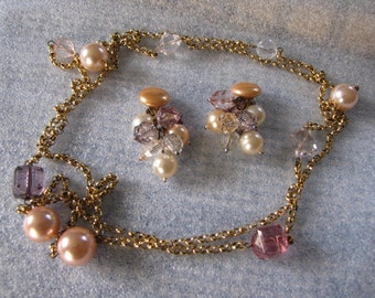 Vintage Long Beaded Chain Necklace Earrings Clip