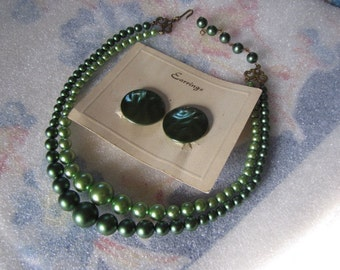Vintage Necklace Earrings Two Strand Green Beads Clip Ears