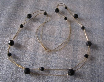Necklace Double Strand Vintage Goldtone Chain Black Glass Beads