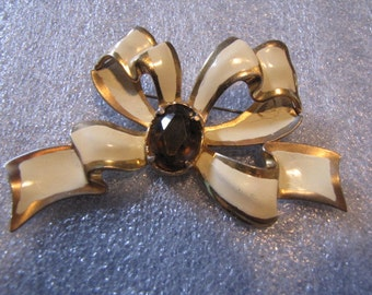 Antique Brooch Bow Pin with Large Brown Rhinestone Vintage