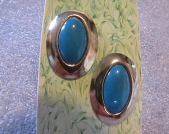 Faux Turquoise Vintage Oval Earrings Pierced