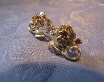 Vintage Coro Earrings Citrine Topaz Rhinestone Flowers Goldtone Screwbacks
