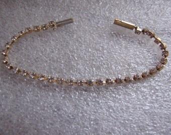 Rhinestone Vintage Tennis Bracelet Goldtone