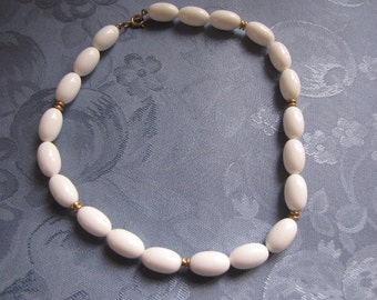 Vintage White Necklace Oval Beads Gold Spacers