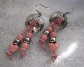 Vintage Conchos Earrings Pink Bead Hearts Suede Pierced