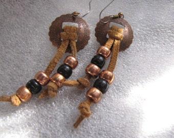 Conchos Vintage Copper Earrings Black Copper Colored Brown Suede