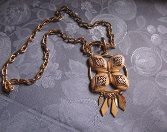 Vintage Goldtone Chain Necklace Square Medallion Circle